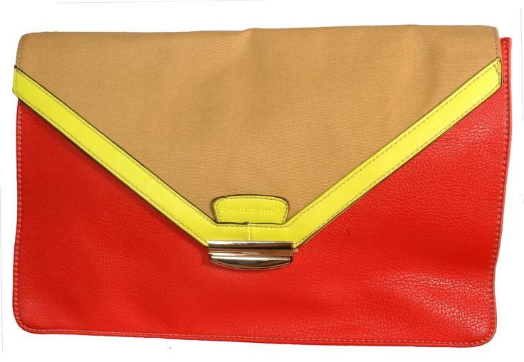 David Jones Clutch Bag Orange / Beige / Yellow