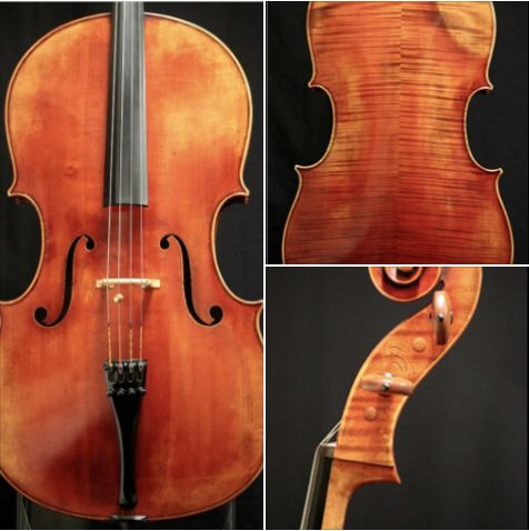 """A 2003 """"Montagnana""""-model #cello crafted by #violinmaker Scott Cao is available for examination and trial. #cellist"""