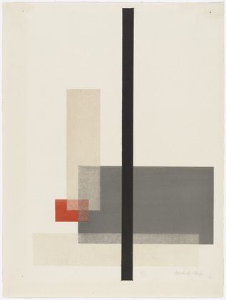 Composition from Masters' Portfolio of the Staatliches Bauhaus by Laszlo Moholy-Nagy. 1923. Lithograph