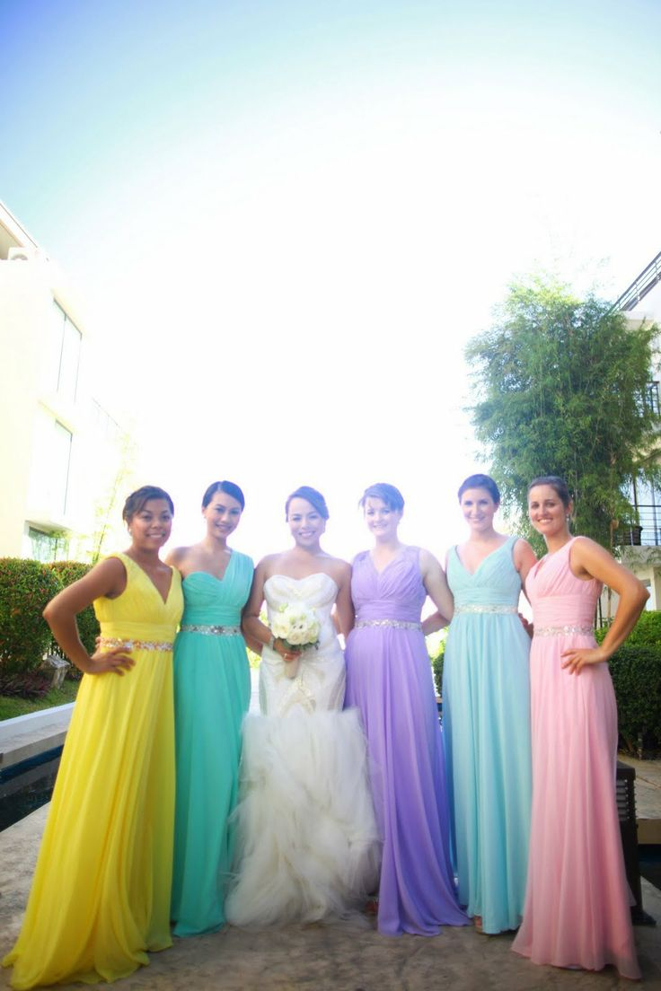 32 best images about pastel rainbow wedding on pinterest for Different colored wedding dresses
