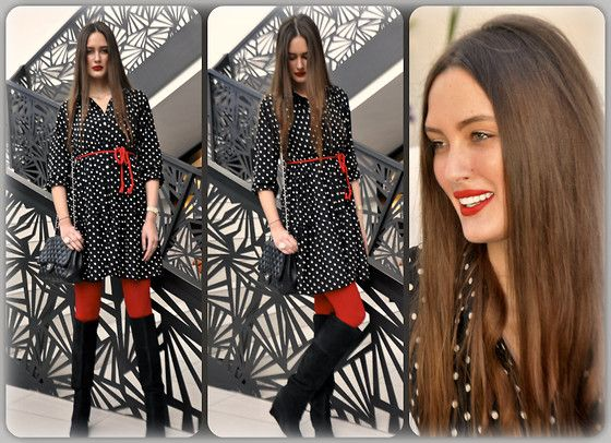 Polka dots & red - what else? (by Amina Allam) http://lookbook.nu/look/4715261-Polka-dots-red-what-else