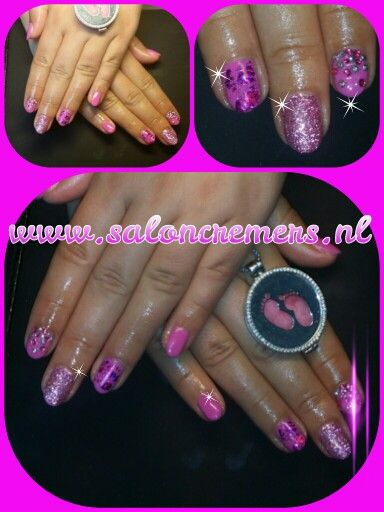 Pink mix nail art nails glitter foil strass grl nails