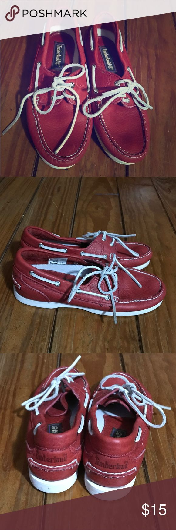 Timberland red leather boat shoes Awesome Timberland boat shoes in excellent used condition. Deep bold red in color with white accents. Worn once. Timberland Shoes Flats & Loafers