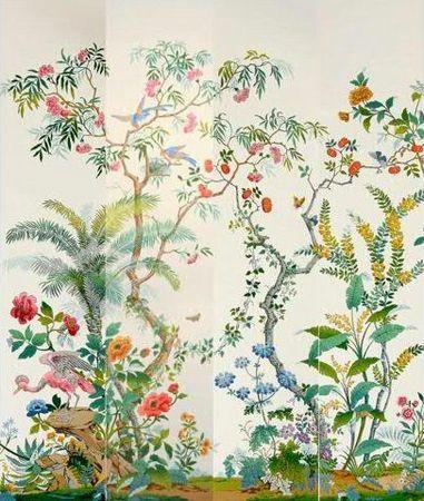 Block-printed panoramic chinoiserie wallpaper, by Zuber
