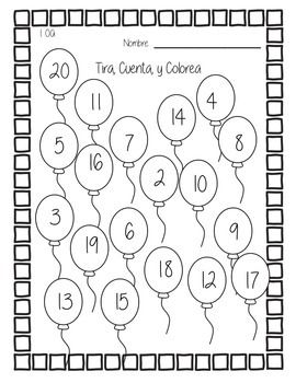 I created this as a math center for my first grade Spanish/English Dual Immersion students. To play, students roll 2 10-sided dice. They then add the numbers and color in the balloon that shows the sum. Once a sum is used, it cant be used again. The goal is to roll all of the possible sums.