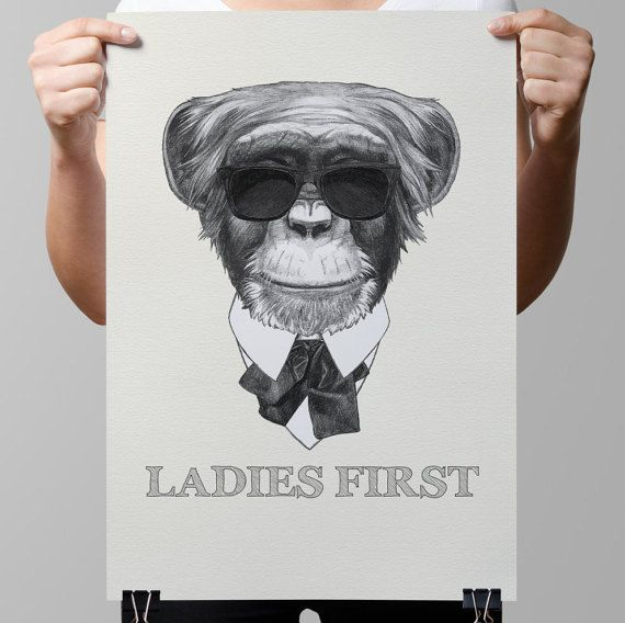 Creative poster-Gentleman-Hipster by TimelessMemoryPrints on Etsy
