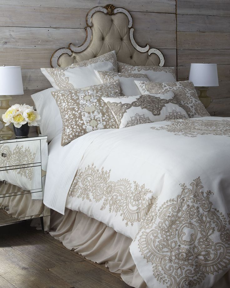"""Avalon Bedding  Creamy bed linens from Callisto Home showcase a modernized Victorian-lace design created with embroidered appliques. Duvet covers and shams are made of linen. Taupe dust skirt with 20"""" drop is rayon. Pillows are cotton with feather/down fill. Oblong pillow is detailed with silver-tone sequins and natural-colored beads. Dry clean. Imported."""
