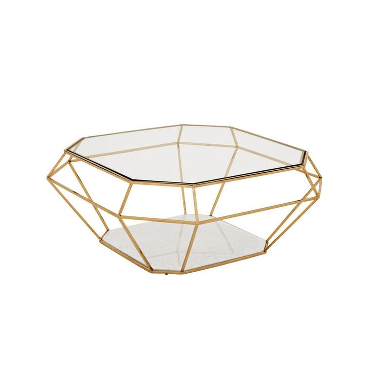 Unusual jewel shaped metal coffee table with glass top this eichholtz gold finished coffee Gold metal coffee table