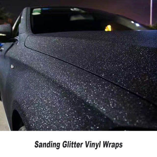 Matte Black Sanding Pearl Glitter Vinyl Wrap Air Bubble Free Sparkle Glitter Vinyl For Car Wrapping 5ft X 98ft Roll Car Wrap Vinyl For Cars Vinyl Wrap Car