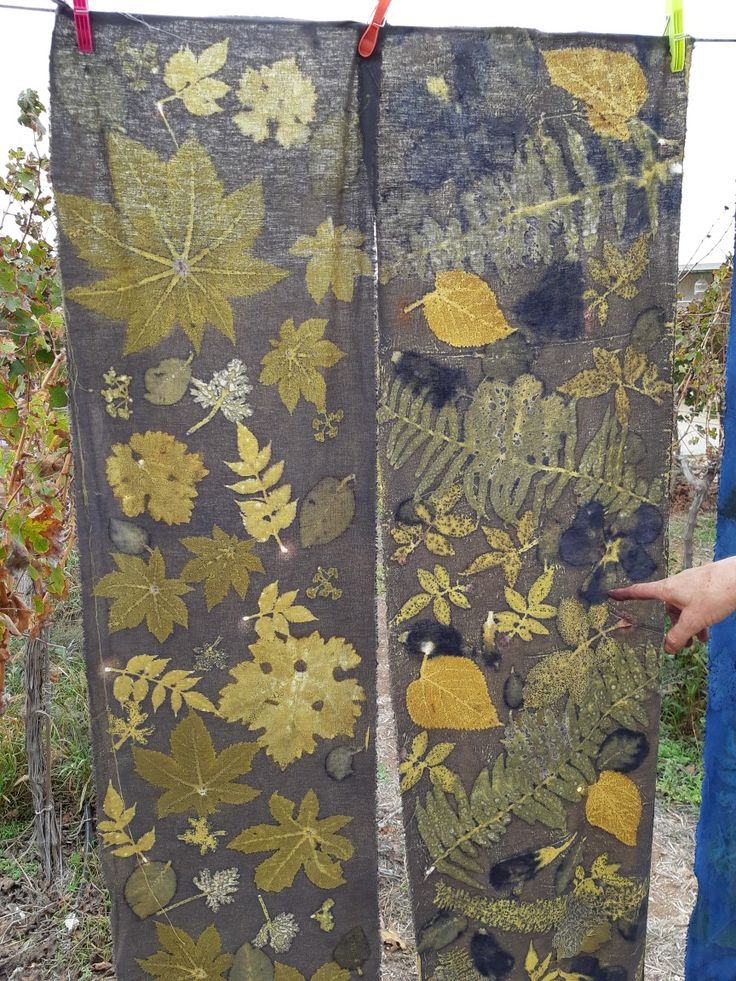 Linen Fabric Colored In Weld Then Eco Printed By Cherie