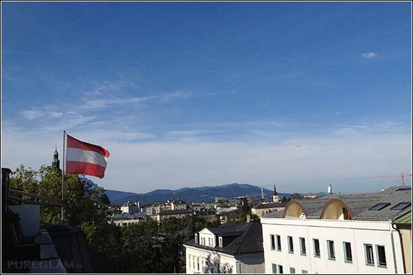 View from the Sheraton Salzburg Hotel with Austrian flag, Auerspergstraße 4 - Salzburg, Austria/Österreich