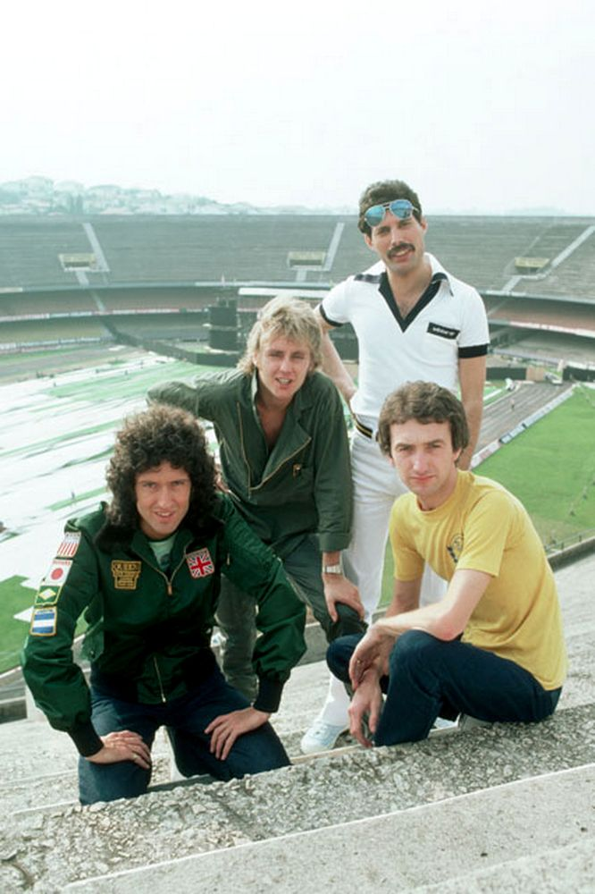 Brian May, Roger Taylor, Freddie Mercury, and John Deacon of the rock band Queen on the steps of Morumbi Stadium, São Paulo, Brazil, 1981