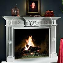 Adams style fireplace mantle -- Late English Georgian interior design