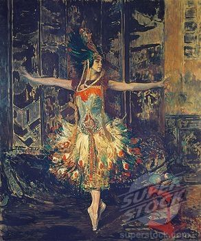 France, Paris, painting of The Russian dancer Tamara Karsavina in The Firebird by Igor Stravinsky (1788-21477 / 87030226 © DeAgostini)