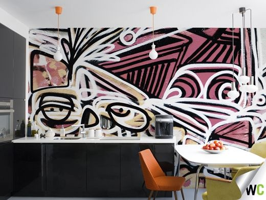 Graffiti inspired wall mural in the kitchen. This graffiti is found on Union Lane in Melbourne - a photograph of which was turned into a customised wall mural for the kitchen.