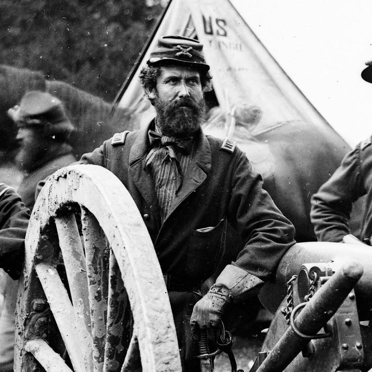 """#TBT: A great photo of John Tidball in detail from a well-known war view on the Peninsula. Tidball appeared at an astounding amount of events- John Brown's capture, Bull Run, Gettysburg, Wilderness, West Point as student and as Commandant-both during and after the war! He was at Petersburg, Appomattox, and more. Others had described him as """"stern"""" and """"mean,"""" but easy to respect- he was brevetted numerous times during the war."""