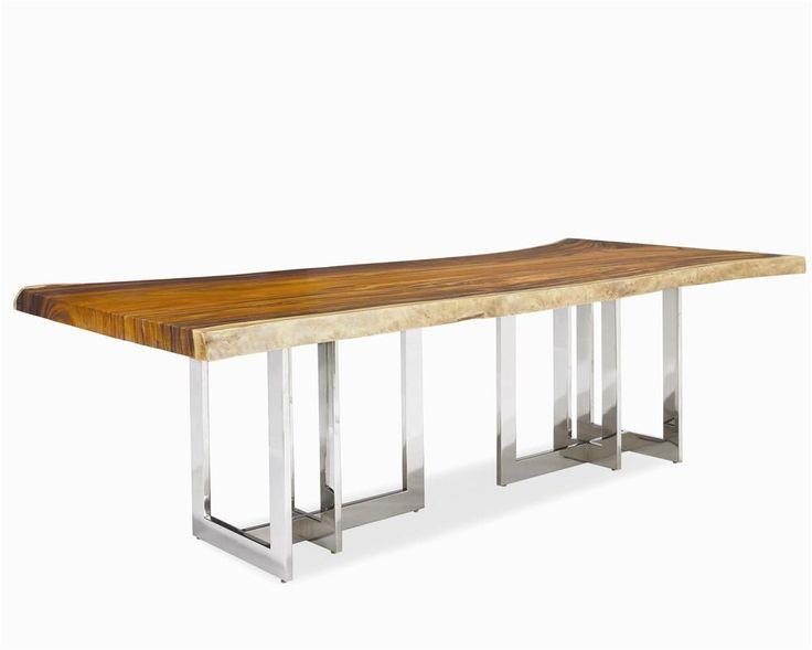 rotsen furniture single slab stainless steel. milan solid wood slab top wstainless steel base by century rotsen furniture single stainless e