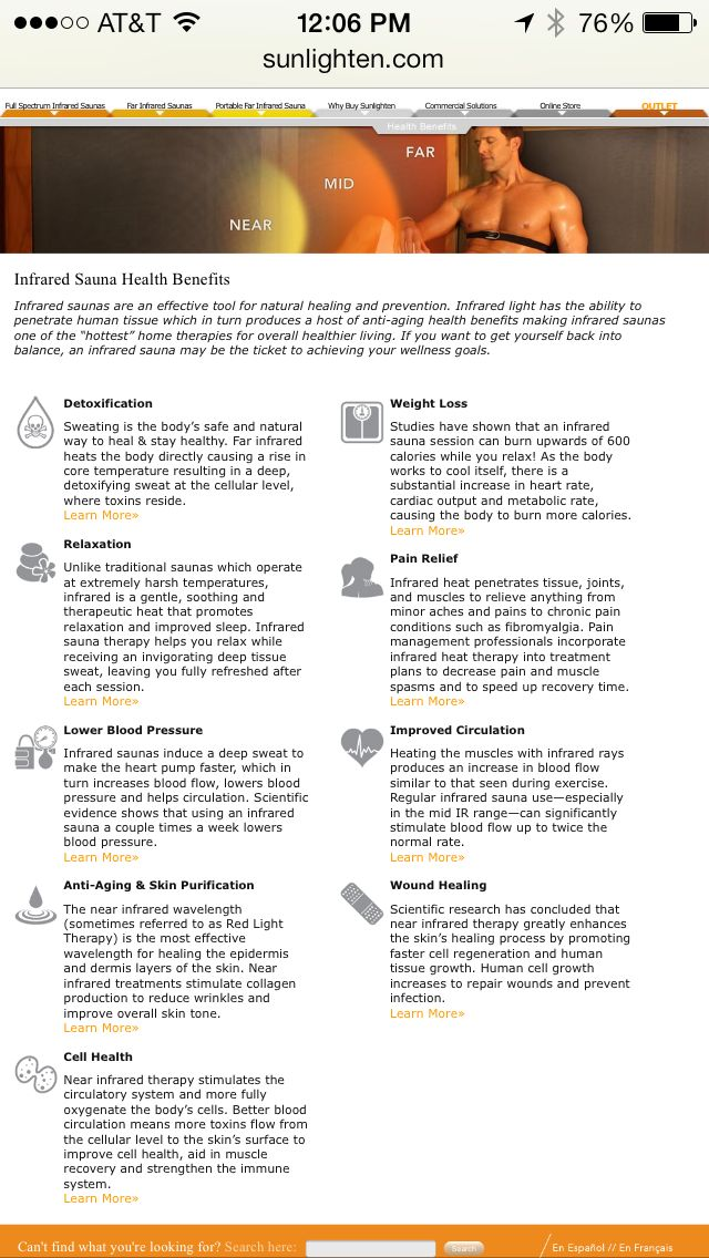 Benefits of infrared sauna treatments. Pretty interesting:)