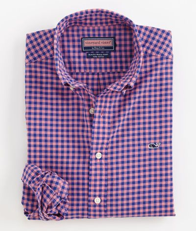 Mens Slim Fit Sport Shirts: Whale Collection: Gingham Button Down Shirt - Vineyard Vines