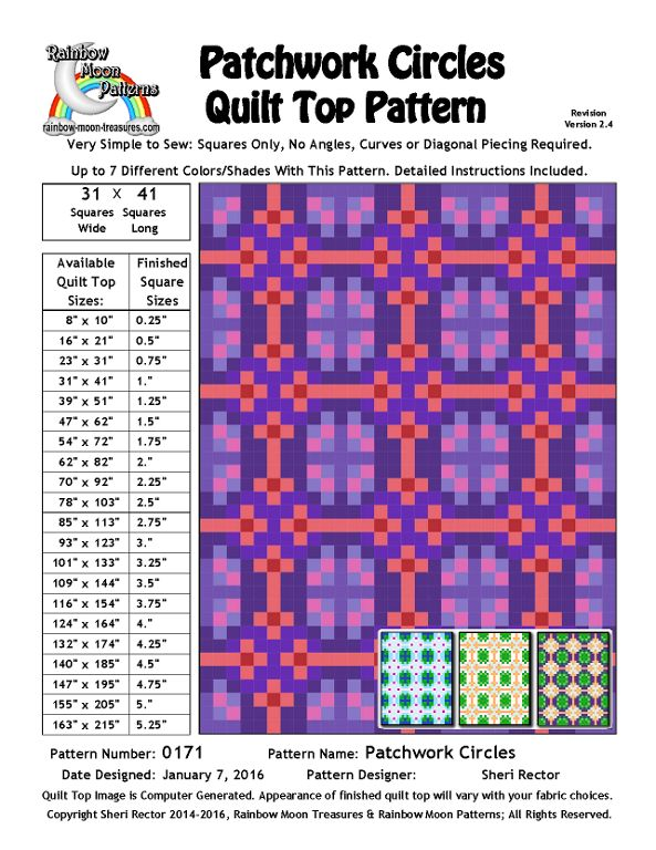 (7) Name: 'Quilting : 0171 Patchwork Circles Quilt Pattern