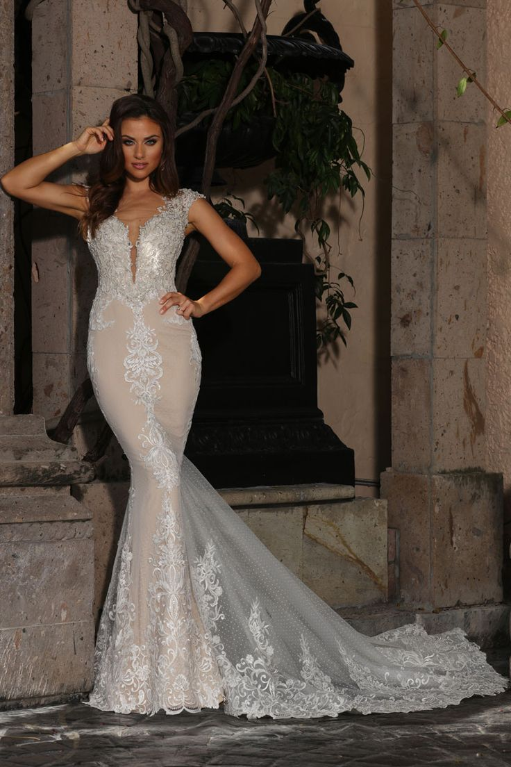 SHEATH DRESS WITH BOLD LACE PLACEMENT INTRICATE BEADED BODICE WITH ILLUSION CAP SLEEVES AND NECKLINE