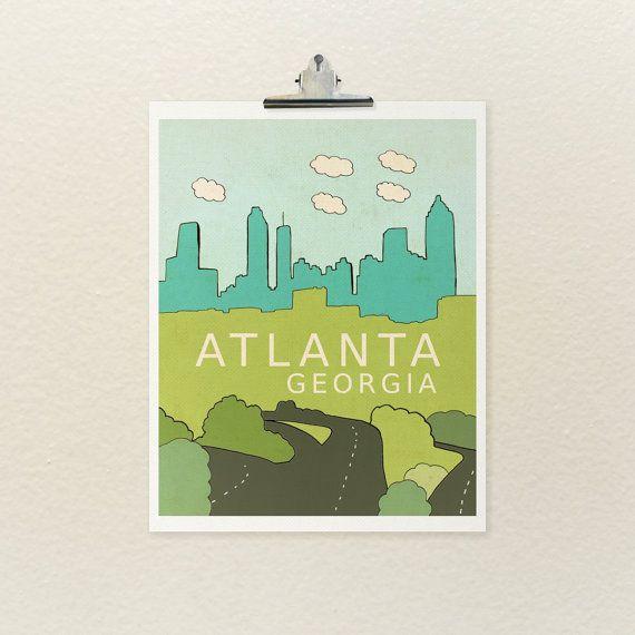 Atlanta georgia typographic print city skyline for Rooms to go kids atlanta