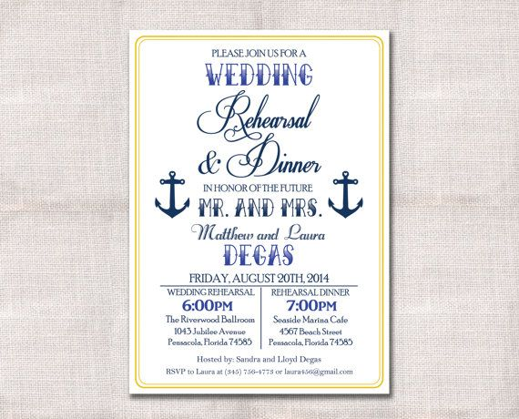Who Is Invited To The Wedding Rehearsal Dinner: Nautical Wedding Rehearsal Dinner Invitation Custom