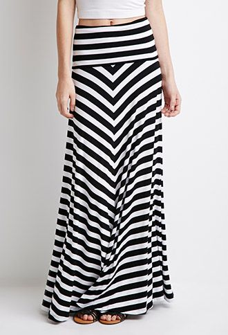 Jupe Maxi Rayée Taille Repliée | Forever21 - 2000097563