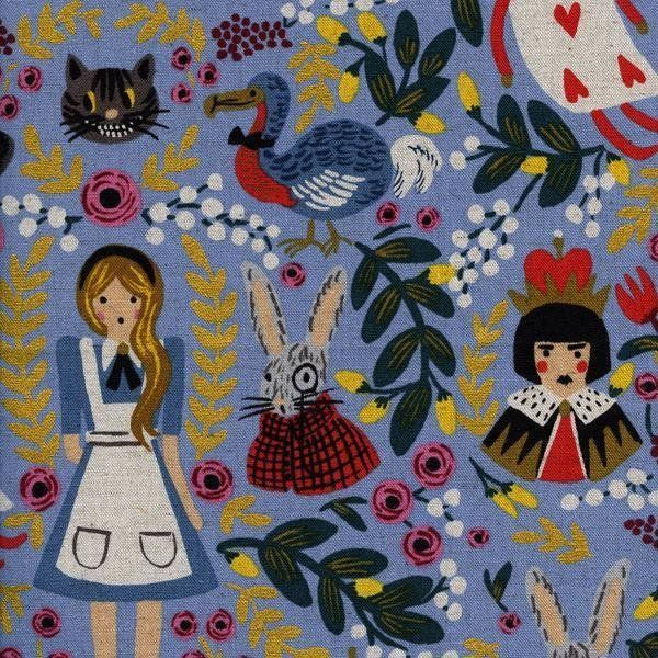 Alice in Wonderland Light Blue - CANVAS #sewing #sew #dressmaking #fabric  #making #material #sewing #quilting #patchwork #sewists #aliceinwonderland
