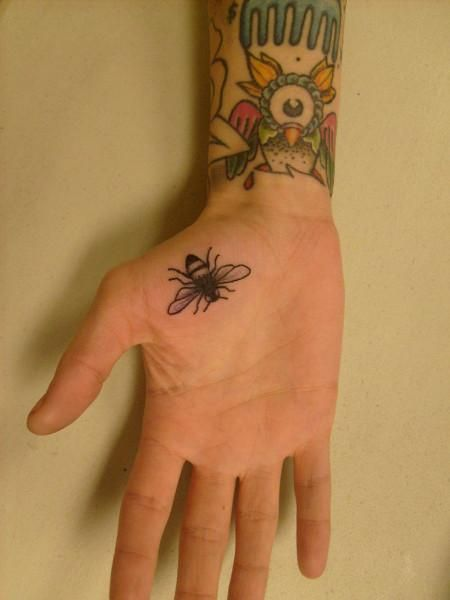 Bee Tattoo On Right Hand