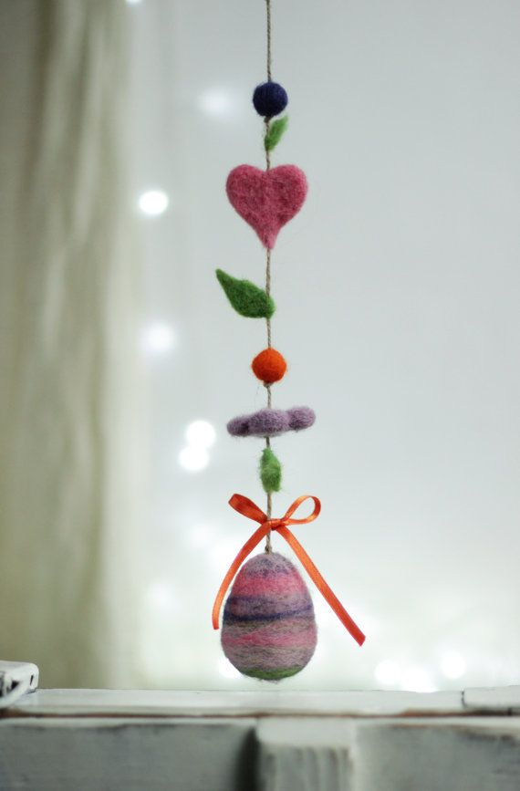 Easter Egg Decoration  Needle Felt Egg by FeltArtByMariana on Etsy