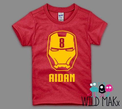 Ironman Inspired Superhero Birthday Shirt - Personalized Iron Man Birthday Shirt - Can be customized for any age.