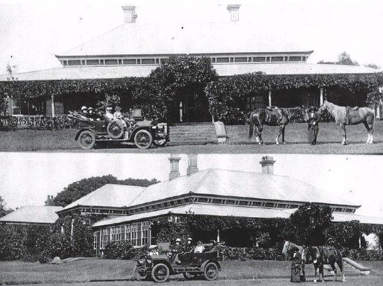 This photo shows two views of Wyalla Homestead, Toowoomba, circa 1912, when it was owned by Mr and Mrs John Shannon formerly of Saltbush Park, Mackay. After their large family had all grown to adulthood, the Shannons bought Wyalla from the estate of the late F.C. Brodribb in 1905 as a retirement property. John is the man with the white beard and wearing the pith helmet. The homestead was built for Francis Claudius Brodribb in 1869 when he came to Toowoomba from NSW.