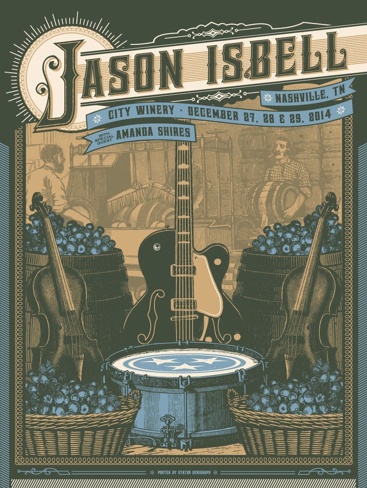 Jason Isbell at City Winery concert poster via Status Serigraph | The Bluegrass Situation