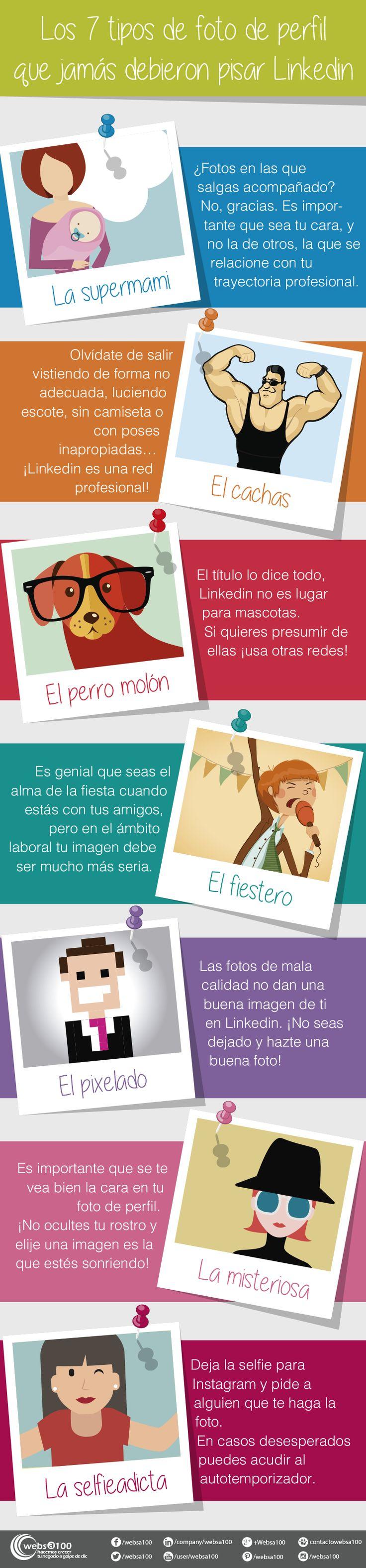 Los 7 tipos de foto de perfil que jamás debieron pisar Linkedin. Infografía en español. #CommunityManager