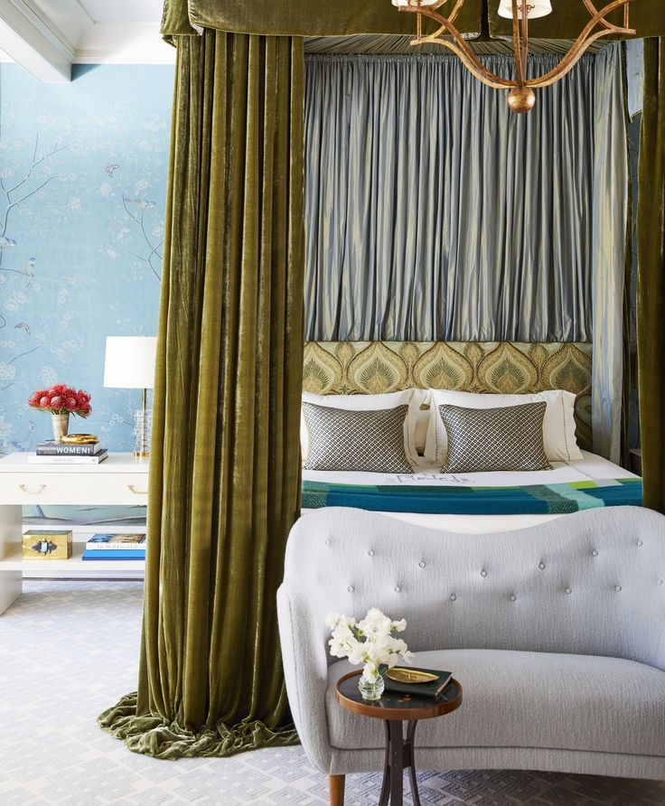 25 Stunning Transitional Bedroom Design Ideas: A Beautiful Master Bedroom With De Gournay Wallcovering