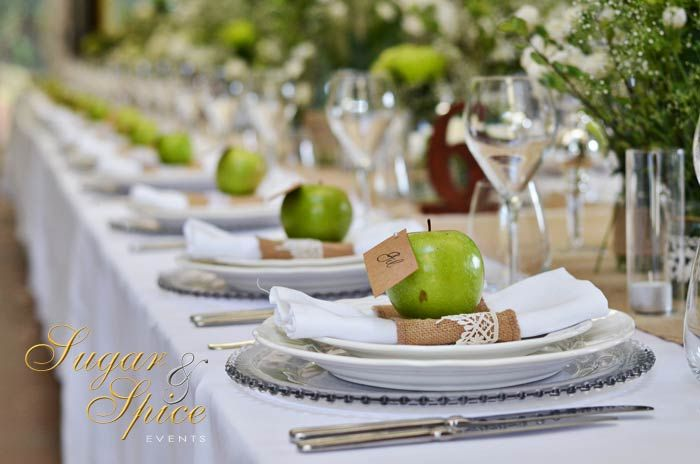 Green #Apples showcase #Greenery at its finest!  This #rustic #wedding featured apples with #placecards pinned to them, to add pops of #green with a fun twist.    You can see see more on our website here: http://www.sugarandspiceevents.com.au/weddings/real-weddings/jenna/