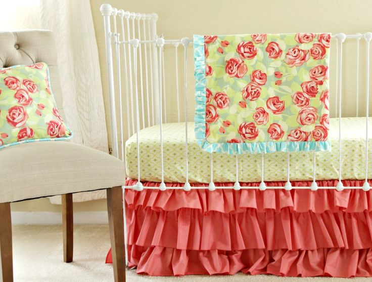 Coral Bumperless Baby Bedding - Tumbling Roses