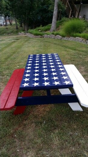 My American Flag Picnic Table With 50 Stars I Made This
