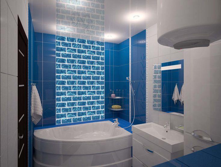 Решение для небольшой ванной комнаты в теплых синих тонах. Акриловая угловая ванная, белая тумба с большой раковиной и белый шкаф-колонна. #синяя_ванная #дизайн_ванной #мебель_в_ванную #шкаф_в_ванну