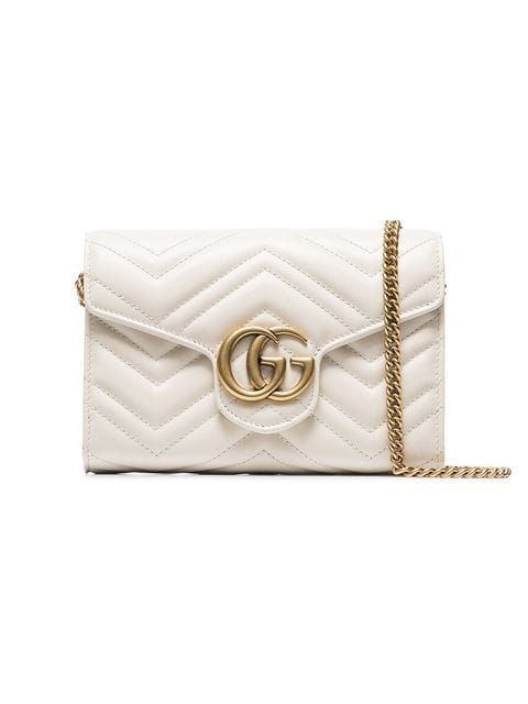 45320369bf6 Shop Gucci white GG marmont leather shoulder bag.
