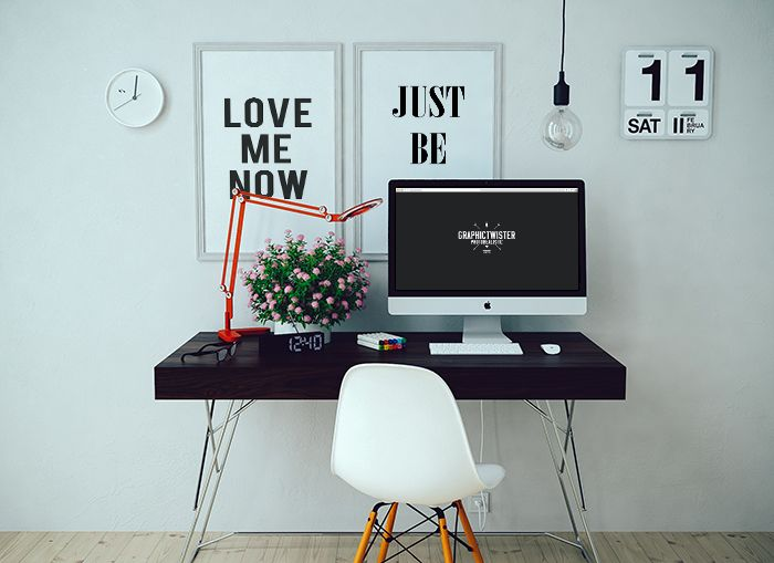 My New IMac Psd Template In A Very Realistic Interior With Two Wall Frames Add Your Image Inside The Smart Object And Enjoy You Work