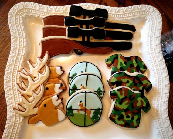 12 hunting sportsman rifle deer cookies camo by BakeMyDayCookies, $36.00