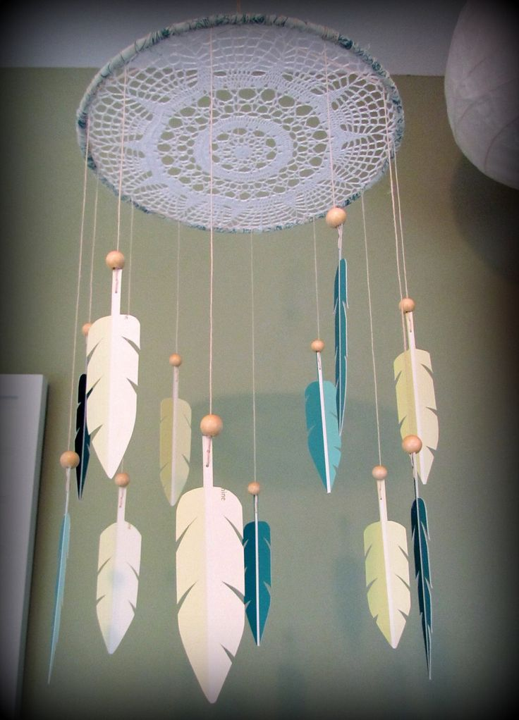 Dream Catcher Mobile - paint swatch mobile - feather mobile - modern - teal and light green - doily - vegan. $65.00, via Etsy.
