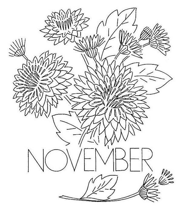 Flowers For November Coloring Page Embroidery Patterns Vintage Coloring Pages Cartoon Coloring Pages