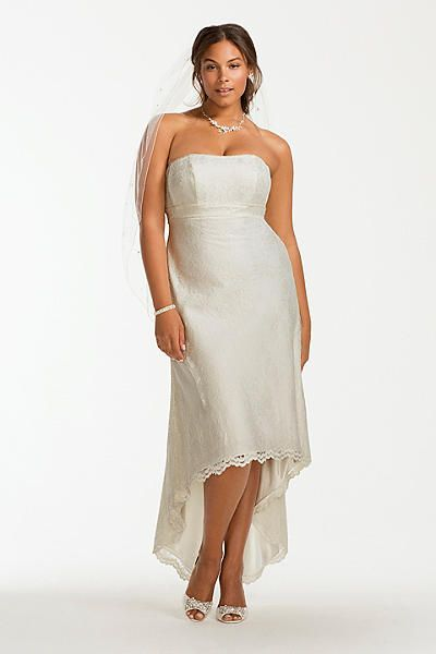 Spectacular Scalloped High Low Lace Plus Size Wedding Dress OP