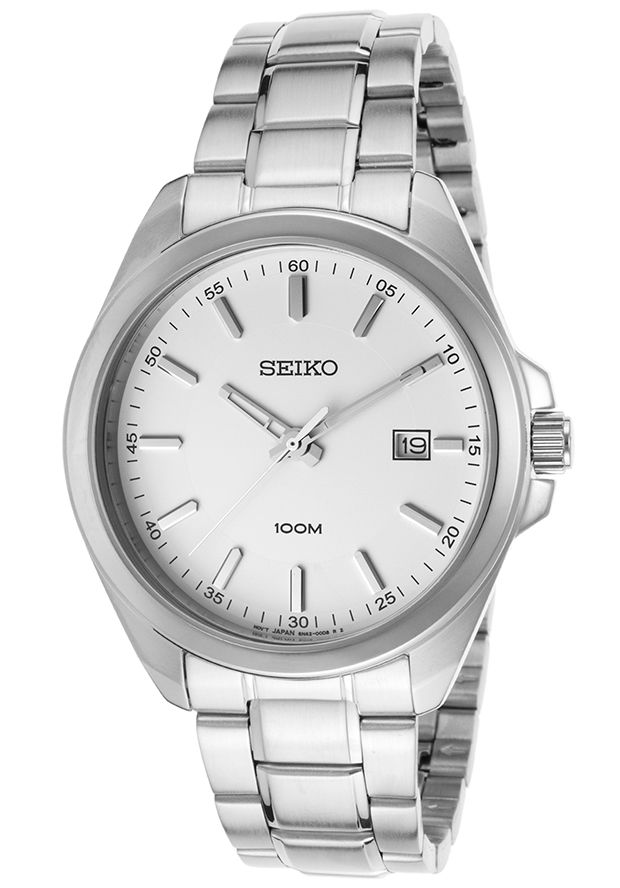 Men's Stainless Steel White Dial - Seiko Watch | 65% OFF