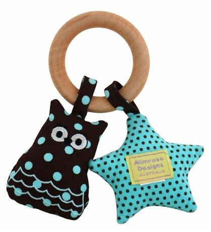 Alimrose Designs Owl & Star Teething Ring - Chocolate          Price: $21.95     Beautiful Alimrose Owl & Star Teether - perfect to relieve your little ones teething pain! Feature a safe wooden teething ring with an owl and star attached.  http://www.littlebooteek.com.au/Gift-Ideas/64/catlist.aspx