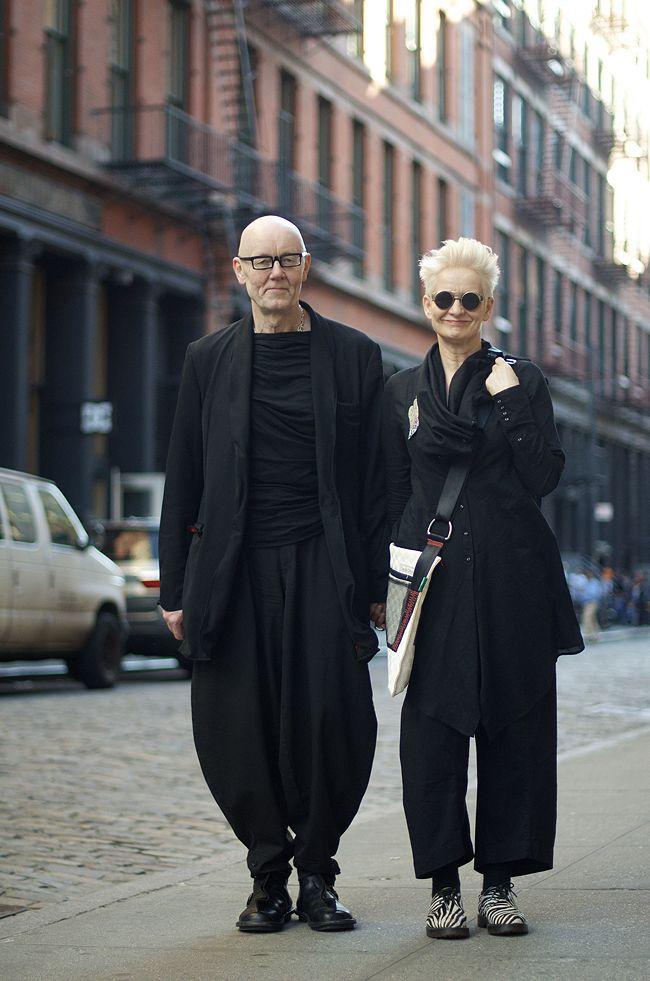 Stylish, advanced-aged couple