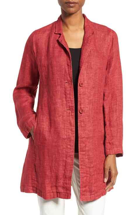 Eileen Fisher Organic Linen Notch Collar Jacket (Regular & Petite)